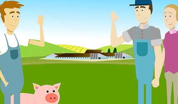 Eine animierte Farmerfamilie winkt in die Kamera